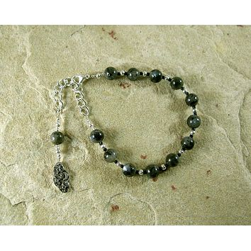 Nyx Prayer Bead Bracelet in Labradorite: Greek Goddess of the Night