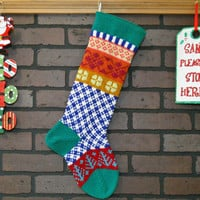 Plaid Personalized Hand Knit Christmas Stocking in Green with Aqua Trees, colorful stocking, Fair Isle stocking, Housewarming/ Wedding Gift