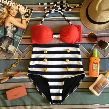 Retro Red Striped High Waist Bikini