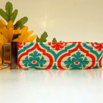 Orange, Blue and White Fabric Wristlet Key Fob/ Keychain/ Wristlet Keychain/ Key Fob Wristlet/ Keychains/ Wristlet Keychain