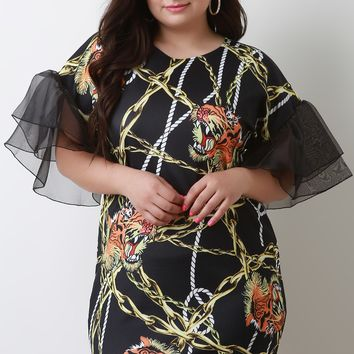 Chains With Rope Graphic Print Mesh Sleeve Mini Dress