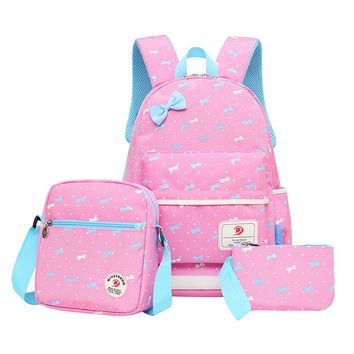 QZH 3 PCS/Set Backpacks Set Women Animal Cute Children Girls Bow Printing Schoolbags Backpack Teenager Girl School Bag