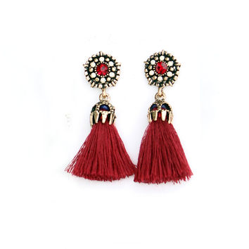 NEW Rhinestone Long Tassel Dangle Earrings for Women Thread Fringe Drop Earrings gift for mom friends christmas earring