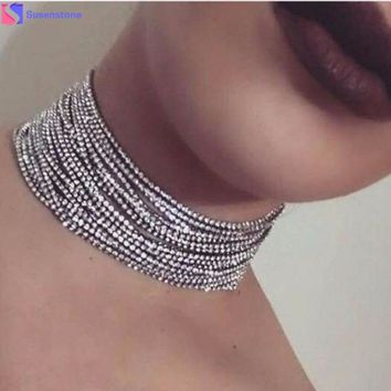 1PC Crystal Multi-Layer Diamante Rhinestone Choker Drop Necklace Multi - layer drill chain necklace Alloy/Crystal #GH20