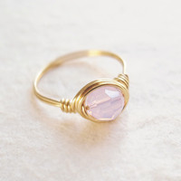 Solitaire Pink Opal Crystal Ring