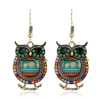 2018 Ethnic Artistic Colorful Owl Faceted Handmade Earrings for Women