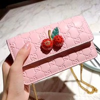 Free shipping-GUCCI 2019 new double G embossed cherry logo women's chain bag shoulder bag