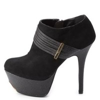 Qupid Textured Strappy Booties by Charlotte Russe - Black
