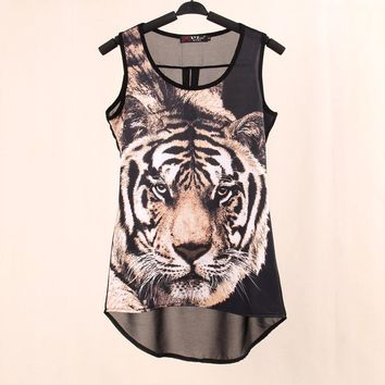 2017 Summer New  Tops woven Digital Printed Tiger Sleeveless t shirts vest knitted LYCRA Chiffon women's tank Tops free shipping