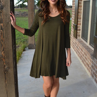 Dark Olive Piko Dress