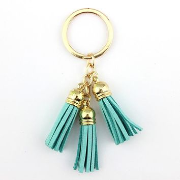3 Tassel Keychain in Mint or Purple with Gold Keyring