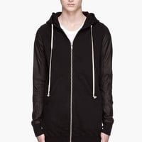 Rick Owens DRKSHDW Black Jersey And Leather Zip-up Hoodie for men | SSENSE
