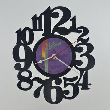 Handmade Vinyl Record Clock Wall Hanging (artist is U2)