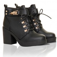 Black Lace Up Gold Buckle Heeled Boots - from Lavish Alice UK
