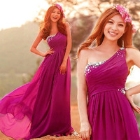 New Women Wedding Bridesmaid Prom Formal Evening Party Long Gowns Chiffon Dress = 1956893252