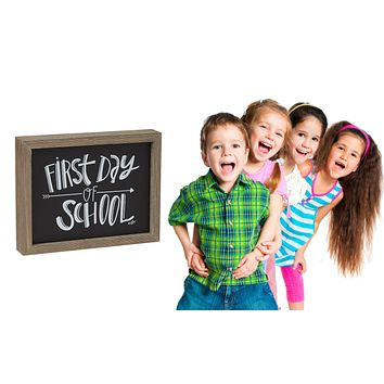 First Day of School - Framed Chalkboard Style Barn Wood Sign 9-in