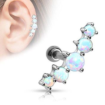 Cartilage Five Opal Ball 316L Surgical Steel Helix Conch Earring