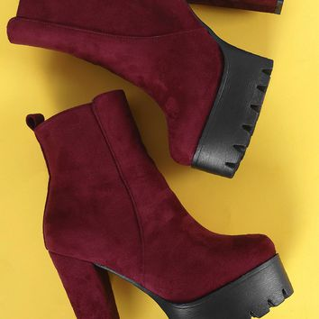Lug Sole Platform Chunky Heeled Booties