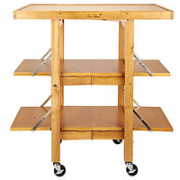 As Is Folding Island Kitchen Cart with Extendable Shelves — QVC.com