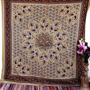 Floral Wall Tapestries, Psychedelic Star Mandala Tapestry Wall Hanging, Indian Bedspread Bohemian Room Décor, Dorm Bedding Tapestry Art