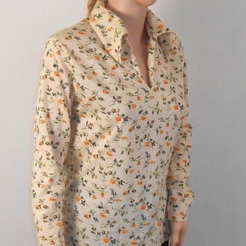 Cream Colored Blouse with Flowers - Size Medium - Miss Fashionality - Free US Shipping