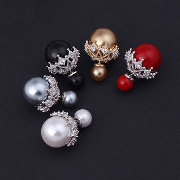 5 Color Options Famous Brand Luxury AAA Cubic Zirconia and Pearl Back to Front Double Ball Stud Earrings
