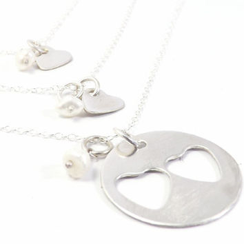 "Sterling Silver 1"" Mother and Two Daughters Necklace Set- Personalized Jewelry, Family Jewelry Set"