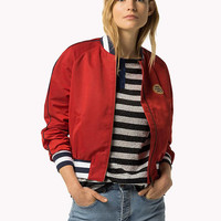 Tommy Baseball Bomber Varsity Jacket Red Gigi Hadid Red White Blue Cuffs Collar Cotton Size S or M
