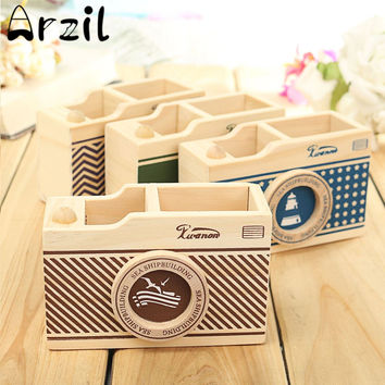 Camera Pattern Sundries Storage Box Vintage Desk Pen Pencil Pot Holder Case Organizer Home Office Gift