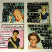 Retro Women Funny Sarcastic Quote Ceramic Drink Coasters Set Four Assorted