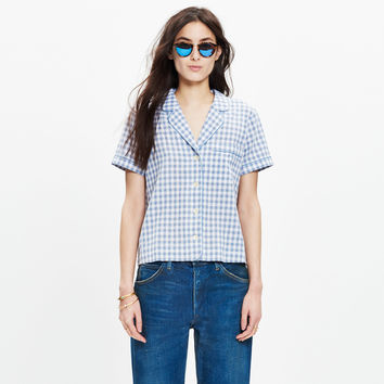 Gingham Piped Pajama Shirt