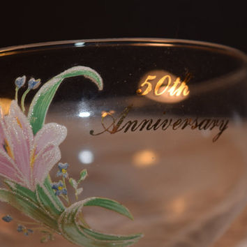 Fenton 50th Anniversary Bowl Vintage Fenton Glass Bowl Hand Painted Gold Accents Fenton Glass Commemorative Fenton Collectible Bowl