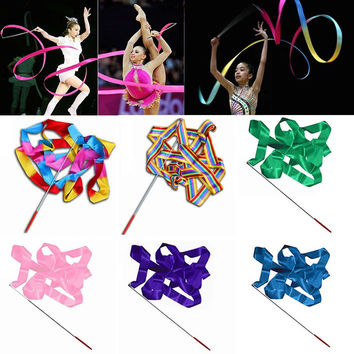 New Arrival4M Dance Twirling Ribbon Rod Gym Rhythmic Art Gymnastic Ballet Streamer Stick Baton Multicolour 10 Colors