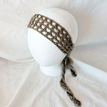 Khaki  crochet tie belt Boho hippie head band Skinny scarf Tan hair tie Hair wrap Silver metallic Rockabilly scarf