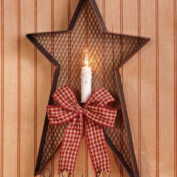 Wall Sconce Country Star with LED Flameless Candle Metal Red or Black Rustic NEW