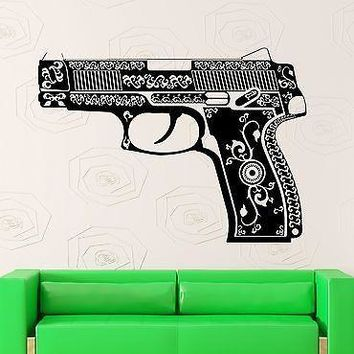 Wall Stickers Vinyl Decal Pistol Gun Weapon Pattern Mafia War Unique Gift (ig1814)