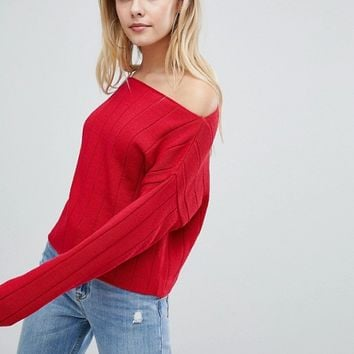 ASOS DESIGN eco off shoulder cropped jumper in oversized rib at asos.com
