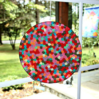 Unique Mosaic Suncatcher Rainbow and Chocolate Sprinkles Hand Crafted Large 8 inch Disk all ready for display by Mei Faith