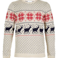Cream Reindeer Sweater - Christmas Jumpers - Men's Cardigans & Sweaters - Clothing