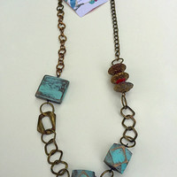 Rustic wooden Necklace/ Long Necklace/ Boho Necklace/hand painted beaded Necklace/Gipsy  Necklace