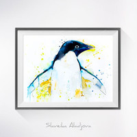 Penguin 2 watercolor painting print ,Penguin art, Animal watercolor, Penguin Painting, Penguin Illustration, Animal art, bird art,bird print