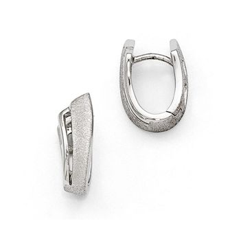Small Abstract Textured Hinged Hoop Earrings in Sterling Silver