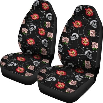 Skull Car Seat Covers - Skull And Flowers Black Car Seat Covers