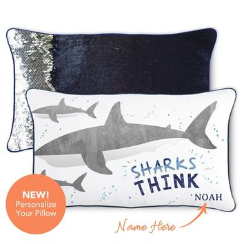 THINK Shark Pillow w/ Reversible Nautical Navy and Silver Sequins