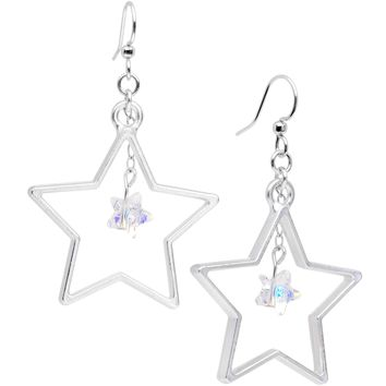 Handcrafted Big Star Dangle Earrings Created with Swarovski Crystals