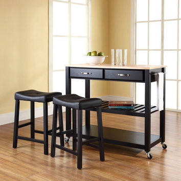 Natural Wood Top Kitchen Cart Island in Black with Saddle Stools