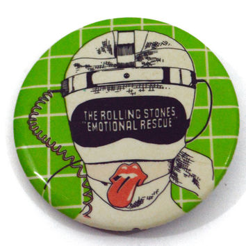Vintage 80s The Rolling Stones Emotional Rescue Badge Pinback Button Pin