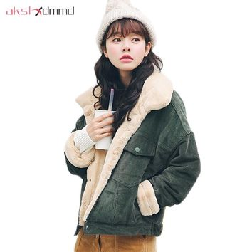 AKSLXDMMD Loose Jacket 2017 New Women Rabbit Velvet Corduroy Thick Winter Coat Female Casual Overcoat Parkas Mujer LH1173
