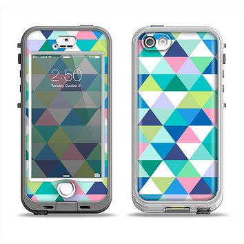 The Vibrant Fun Colored Triangular Pattern Apple iPhone 5-5s LifeProof Nuud Case Skin Set