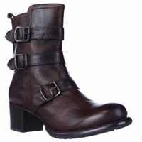 FRYE Very Buckle Block Heel Casual Mid Calf Boots - Dark Brown